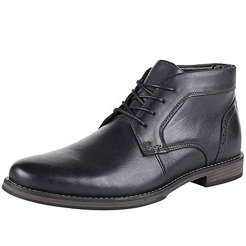 Jamron Herren Echtleder Westlich Vintage Derby Stiefel Reißverschluss Stiefeletten Schwarz SN01404 EU39.5