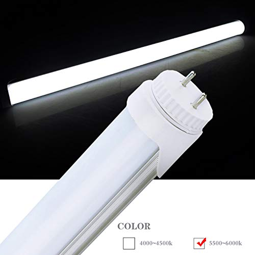 "LED Tube Light,120V 4-Pack of 7Watt F15T8 RV Light Bulb,Rotatable end caps,18"" (17-3/4"" pin to pin) Length,5500K Daylight Color,Frosted Cover"