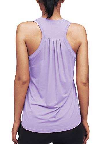 Mippo Womens Workout Tops for Women Racerback Tank Tops Loose fit Workout Tanks Muscle Shirts Cute High Neck Yoga Athletic Running Tank Tops Summer Tops Sports Gym Clothes for Women Purple L