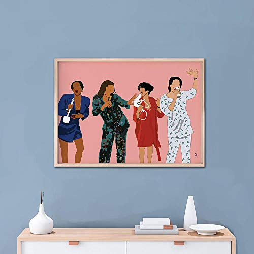 QZROOM Póster con impresión de un Solo Arte TV Impresión clásica de programas de TV Regalo navideño para la Hermana Mejor Amiga Decoración del hogar Impresión de Arte Negro -50x70cm Sin Marco