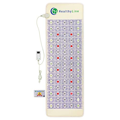 Healthyline Advanced Heating Pad - Amethyst, Tourmaline and Jade Gemstones - Photon Red Light Therapy - Heat Mat for Muscle, Joint, Nerve, Arthritis Pain Relief (72' x 24')