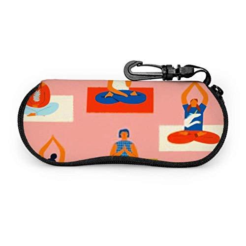 Dedesty Glasses Case, Yoga Class People Meditating Doing Breathing Sunglasses Soft Case Ultra Light Neoprene Zipper Estuche para anteojos With Carabiner