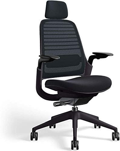 Series 1 Task Chair by Steelcase   Black Frame, Cogent Connect Upholstery, 3D Microknit Back   Fully Adjustable Arms   Matching Headrest   Soft Hard Floor Casters (Licorice)