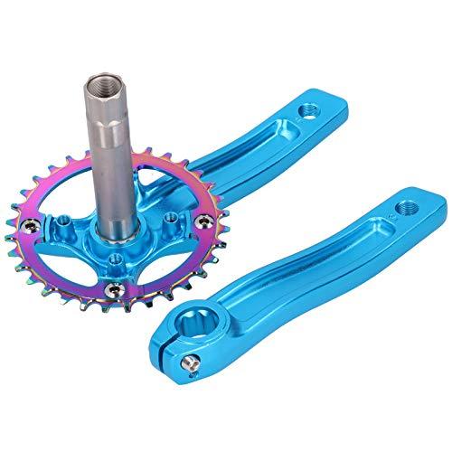 exquisite Verarbeitung ZK-22 Mountainbike Kurbelgarnitur 32T Single Speed Kurbelarm Zubehör zum Radfahren für Rennräder(blue)