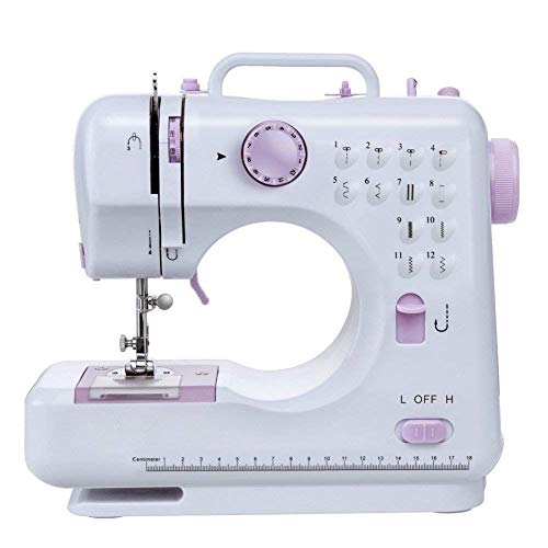 12 Stitch Multi-Function Sewing Machine, Household Sewing Machine, Electric Sewing Machine, Portable Sewing Machine,Double-line Two-Speed Reverse Stitch,Pedal,Small,Table Lamp,)