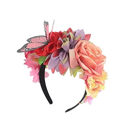 DealMux flor de peonía mariposa accesorios para el cabello diadema guirnalda tocado de mujer flores rosas tocado de dama de honor # 4