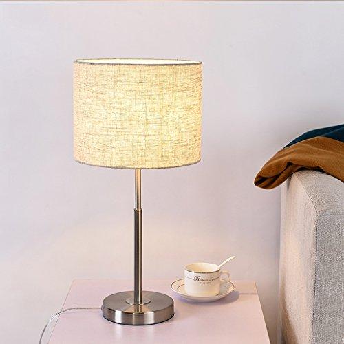 lampe de table bureau rond lin rayures fer lampe d'étude lecture en bois simple salon chambre à coucher restaurant café bar acier inoxydable A+ (Color : Linen color)