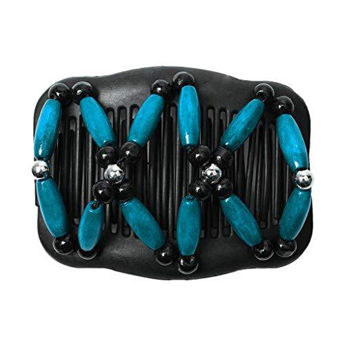 VIccoo Peigne, Peigne Magique perlé Chignon Fabricant de Cheveux Updo Vintage Femmes épingle Double Peigne élastique - Bleu