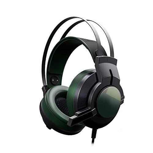 HS-01 Gaming headset USB 7.1 kanaals desktop laptop headset hoofdtelefoon geluidsherkenning met microfoon metalen kop straal licht comfort (zwart groen)