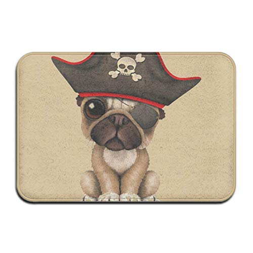 D-M-L 40X60CM Bath Mat Flannel Non Slip Bath Rug Door Mat Floor Mat Baby Pug Pirate