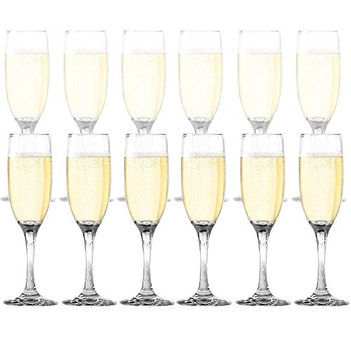 Dailyware Toasting Flutes (Set of 12), Elegant Style Glasses, Perfect for Special Occassions