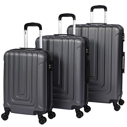 Luggage Sets Suitcase Carry On Hand Cabin ABS Hard Shell 4 Double Spinning Wheels TSA Lock Small/Medium/Large Luggage Suitcase - 3 Piece Set (20'/24'/28') (Grey)