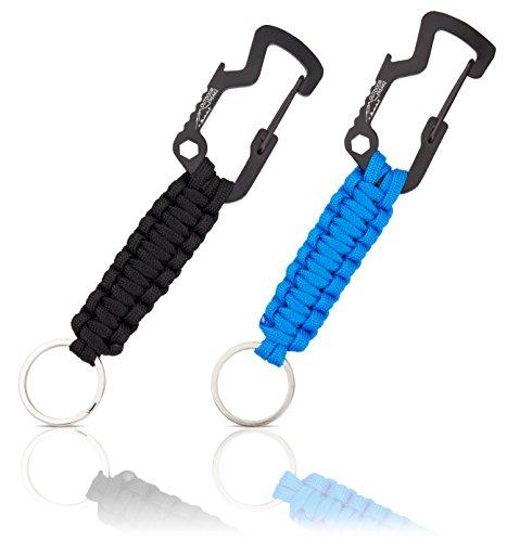 Outdoor Freakz Lot de 2 porte-clés en paracorde avec décapsuleur sur le mousqueton et livres électroniques pour la randonnée, l'extérieur et comme gadget pour survivre, Noir/bleu.