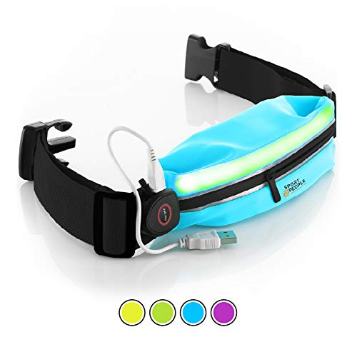Sport2People LED Reflective Running Belt Pouch with USB Rechargeable Light - Key, iPhone X 6 7 8 Plus Cell Phone Holder for Runners - Best Visibility During Walking and Cycling (Pool Blue)