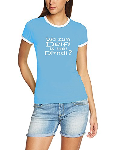 Wo zum Deifi is MEI Dirndl ? Damen Ringer Oktoberfest Wiesn T-Shirt Sky_RIGI Ringer Gr.L