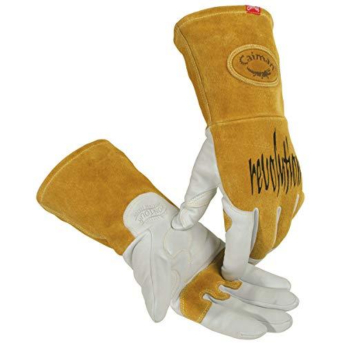 Caiman Genuine Goatskin Leather White KontourTM TIG/MIG Gloves (Large/Yellow)