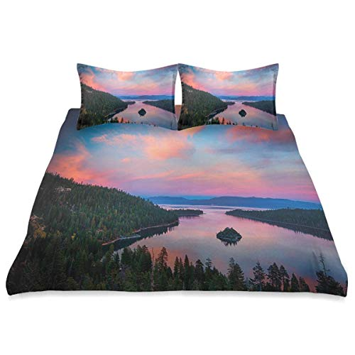 Funda nórdica, Temas rústicos de fotografía de California Sundown Time Freshwater Sierra Nevada Lake, Juego de Cama de Microfibra de 3 Piezas Ultra Softness Comfortable Modern Design