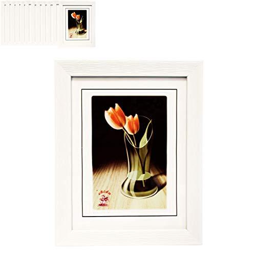 Chidu Pack de 12 Portafotos de poliestireno con Marco Blanco Exterior 13 x 18 cm .Interior 9 x 13 cm
