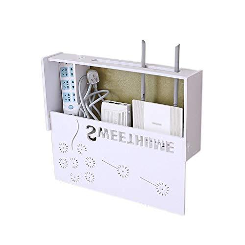 YYQXR WiFi Router Regal Blow Free Loch Wandmontage Set-top Aufbewahrungsbox Rack Wandbehang Router Dekorative Box (Farbe : Weiß)
