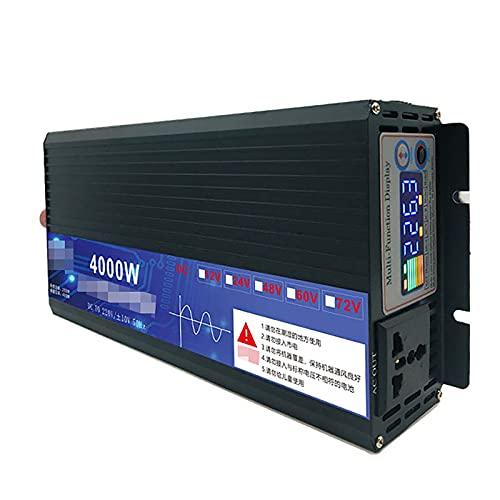 TERMALY Inversor de Corriente de 3500W DC 12V~72V a AC 220V Transformador Adaptador de Cargador de Automóvil con Enchufe de 3 Pines,12V4000W