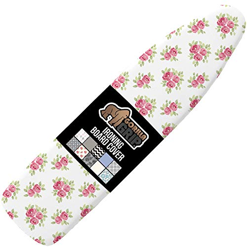 Gorilla Grip Reflective Silicone Ironing Board Cover, 15x54 Inch, Hook and Loop Fastener Straps, Large and Standard Boards, Resists Scorching and Staining, Elastic Edge, Thick Padding, Pink Floral