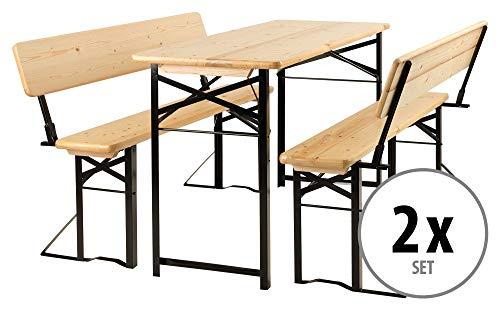 Stagecaptain BBDL-117 Hirschgarten Bierzeltgarnitur mit Lehne für Balkon 2X Set - Kurze Version mit 117 cm Länge - 2X Tisch, 4X Bank - Holz - klappbar - Natur