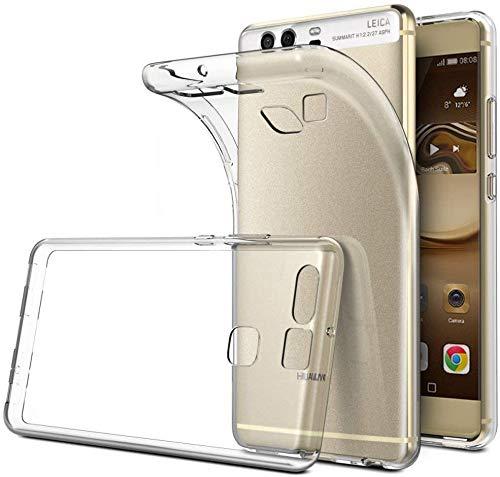 REY Pack 3X Cover in Gel TPU Trasparente per Huawei P9, Ultra Sottile 0,33 mm, Morbido Flessibile, Custodia Silicone