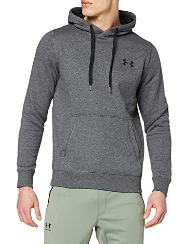 Under Armour Rival Fitted Pull Over, sudadera con capucha Hombre, gris (Carbon Heather/Black (090)), S