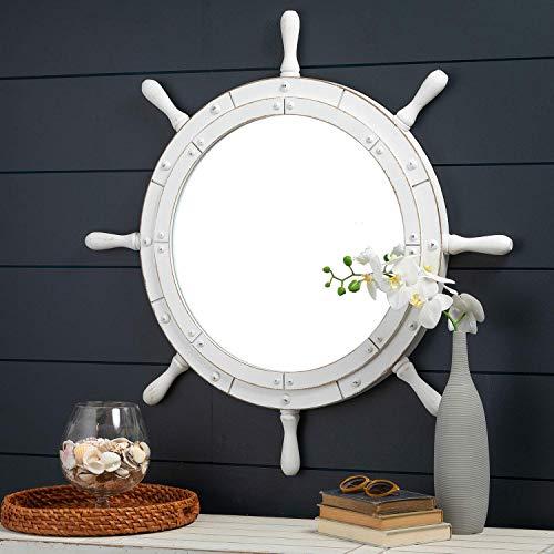 Nagina International Classic White Santorini Beautiful Nautical Sturdy Large Mirror Ship Wheel | Wall Mounted Mirrors (30 Inches)