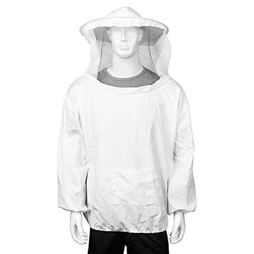 Flexzion Chaqueta de Apicultura, Traje de Apicultor, Traje con Delantal de Velo Protector para apicultores, Talla XXL, Color Blanco