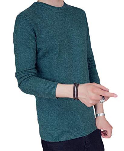 Selx Suéter masculino slim fit manga longa sólido gola redonda suéter de malha, Two, Small