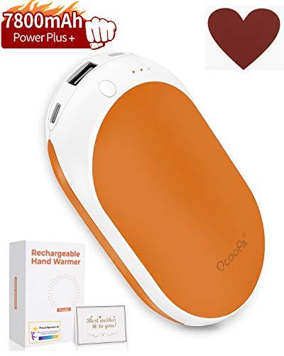OCOOPA Handwärmer, wiederaufladbar, 7800 mAh, langlebige Heizung, elektronischer Handwärmer, batteriebetrieben, ideal für Camping, Jagd, warmes Geschenk, Power Plus, 1 Stück, Orange