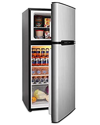 Mini Fridge with Freezer, 4.5 Cu.Ft Compact Refrigerator with freezer, 2 Door Mini Fridge with freezer, Upright for Dorm, Bedroom, Office, Apartment- Food Storage or Drink Beer, Silver