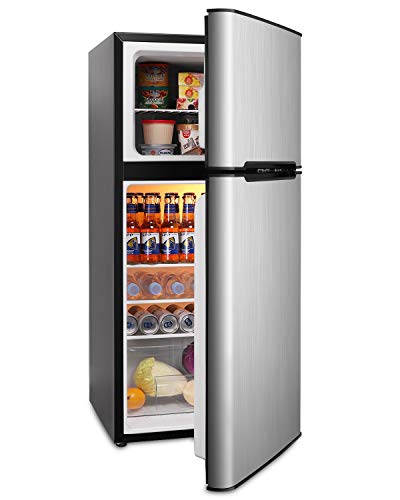 Mini Fridge with Freezer, 4.5 Cu.Ft Compact Refrigerator with freezer, 2 Door Mini Fridge with freezer, Upright for Dorm, Bedroom, Office, Apartment- Food Storage or Drink Beer (Silver)