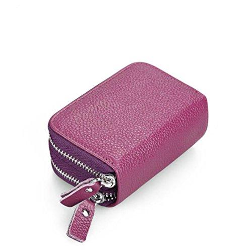 DcSpring RFID Cartera Tarjeteros Piel Genuino Monedero Pequeñas Portatarjetas Mini Cremallera para Mujer Hombre (Púrpura)
