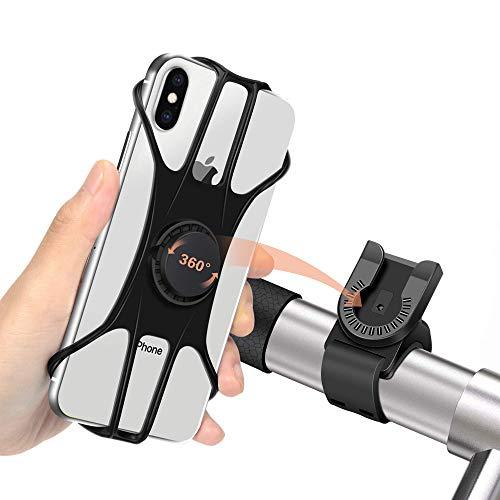 Shinemefly Soporte Movil Bicicleta, Anti Vibración Soporte Movil Bici Montaña con 360° Rotación para Moto con Silicona Teléfono Manillar, Universal Manillar Compatible con 4.5-7.5'