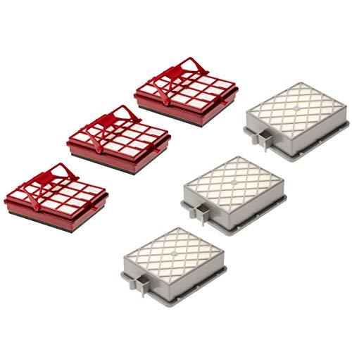 vhbw 6x Staubsauger-Filter Filter Set passend für Lux AP11, Intelligence Series, S115 Staubsauger; 3x Kombi- + 3x HEPA-Filter