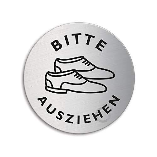 Schild - Schuhe ausziehen   Türschild aus Edelstahl Ø 75 mm selbstklebend   Original Ofform Design Nr.39292