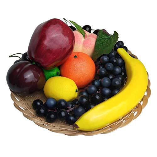 Lorigun Set de Frutas Artificiales para decoración de Accesorios de Frutas Falsas, 10 Tipos de Frutas (Total 12 Piezas)