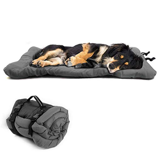 Musonic Foldable Water-Resistant Dog Bed Mattress, Washable Durable Oxford Dog Pad for Car Crate Sofa also For Outdoor Using 90cm X 60cm X 4cm Grey