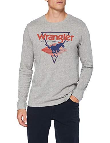 Wrangler LS Modern Americana Camiseta, Mid Grey Mel, XXL para Hombre