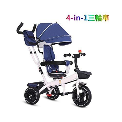 Tricycle bicicleta infantil mano dosel ajustable niños y niñas regalo de color rosa que es adecuado for niños de tres ruedas 1-3-6 años de edad de los niños 4-en-1 de tres ruedas desmontables con bara