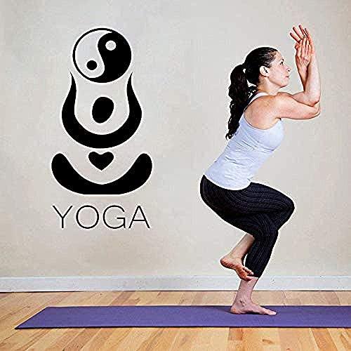 Pegatinas de pared con estilo de arte hindú Yoga Ying Yang patrón de pared calcomanía de yoga estudio mural vinilo extraíble diseño especial decoración del hogar etiqueta 57 x 30 cm