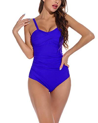 Yuson Girl Floral Bandeau - Bikini para mujer con cintura alta, traje de baño de una pieza con estampado push-up y acolchado turquesa XL