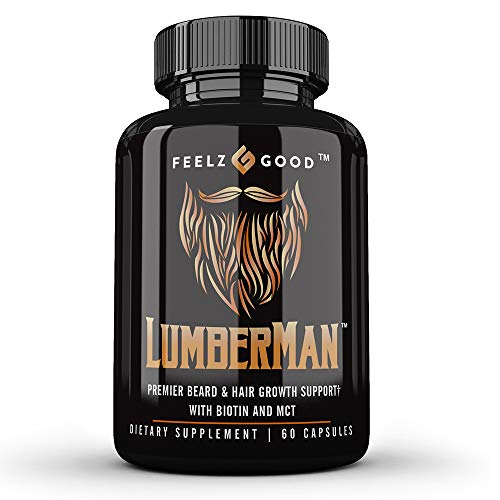 Lumberman Premier Beard Growth Vitamin Formula | Biotin 10,000 mcg | MCT Oil | Beard Growth Kit for Men - D3, B5, Folate & More | for All Hair Types | Fuller, Thicker, Healthier Beard