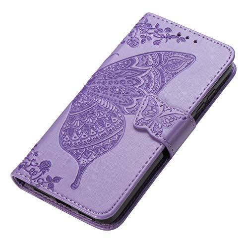 HAOYE Hülle für Samsung Galaxy A51 Hülle, Schmetterling Geprägtem PU Leder Magnetische Filp Handyhülle mit Kartensteckplätzen/Standfunktion, Anti-Rutsch Schutzhülle. Lila