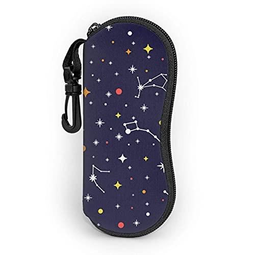 Gafas de sol con cremallera suave para gafas de sol con clip para cinturón Constellation Galaxy espacio brillante portátil Gses bolsa