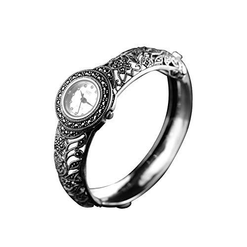 Jade Angel Reloj de plata de ley 925 Retro Relojes de pulsera pavimenta marcasita estilo de gloria de la mañana para las mujeres