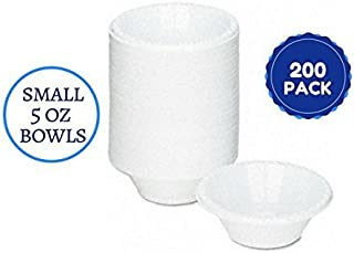 Disposable White Small 5 Oz Plastic Bowls Plates For Deserts, Sweets, Arts And Crafts And Everything Else 200 Ct