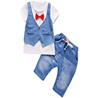 BHYDRY NiñIto Niños Bebé Chico Conjuntos Manga Corta Camiseta + Pantalones Caballero Ropa Trajes(Blanco,100)